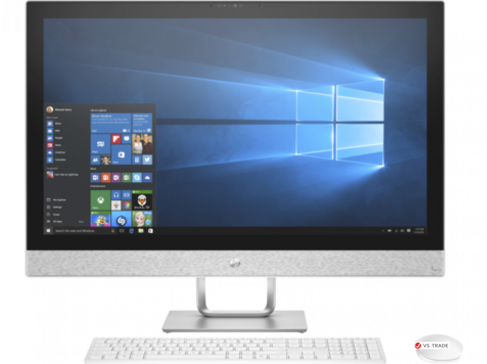 "Моноблок HP 2MJ17EA Pavilion AiO, 27"" FHD, I5-7400T, 4GB DDR4, 1TB, R530-2GB, DVD WRITER, WIN10,WLESS KBD,MOUSE,White"